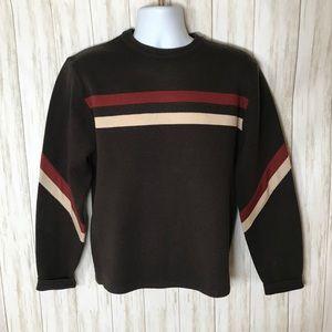 Vintage Crewneck Knit Sweater Brown Striped Mens